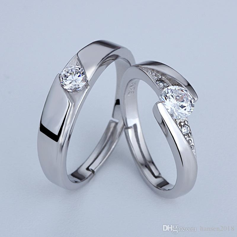 d145a90d81 Adjustable 925 Sterling Silver couple Rings White Gold Plated 1CT Swiss  Diamond Rings For Women Luxury Wedding Jewelry Free shipping