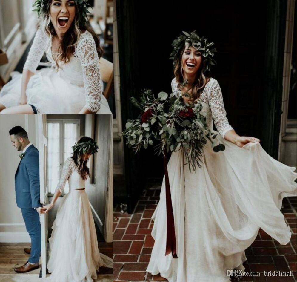 de588e9a056 Discount 2018 New Two Piece Bohemian Country Wedding Dresses 1 2 Sleeves  Lace Applique Chiffon Pleats Floor Length Wedding Dress Bridal Gowns Boho  Wedding ...