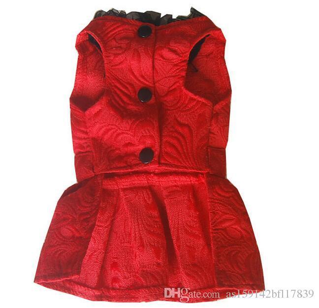 Dog Dress Spring Summer Sleeveless Princess Dress with Rhinestone Teddy Bobby Pet Dress Red / Black / White