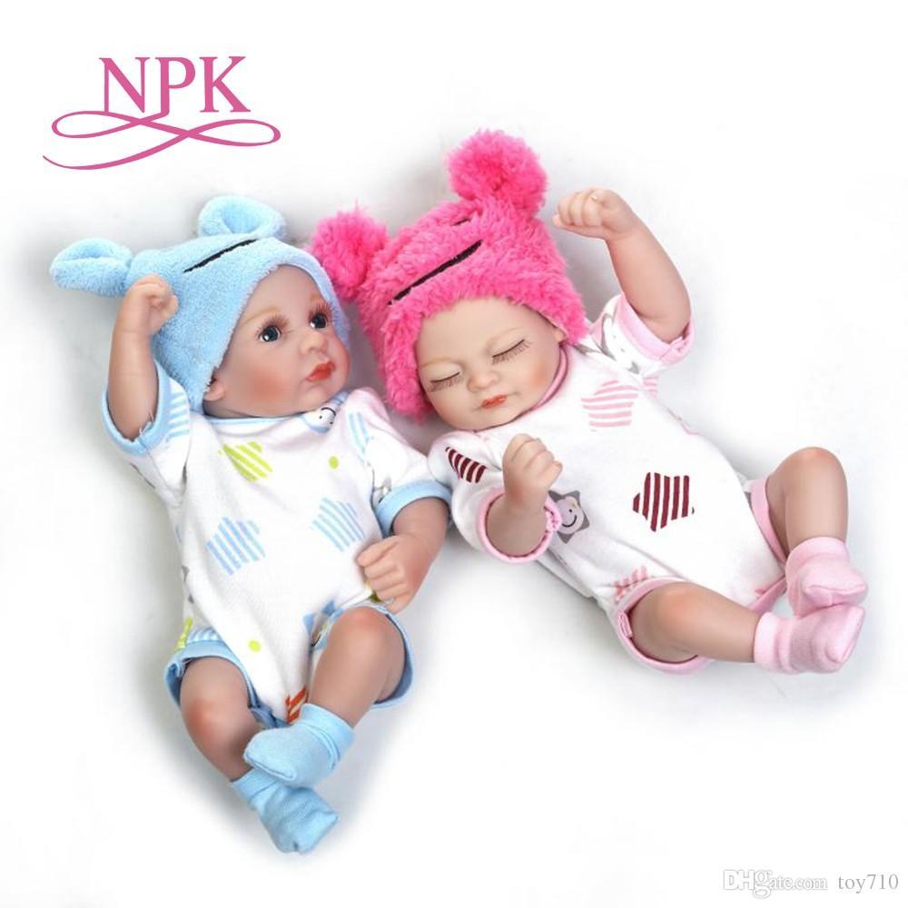 25cm Soft Silicone Reborn Twins Babies Lifelike Mini Newborn Girl Boy Baby Doll Birthday Present Gift Dolls Princess From Toy710 352