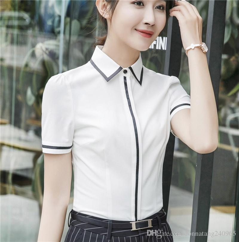 7638b148b4 Compre Chegada Nova Moda Primavera Verão Casual Mulheres Blusa Escritório  Branco Camisa Plus Size Desgaste Do Trabalho De Manga Curta Bonito Tee Tops  ...