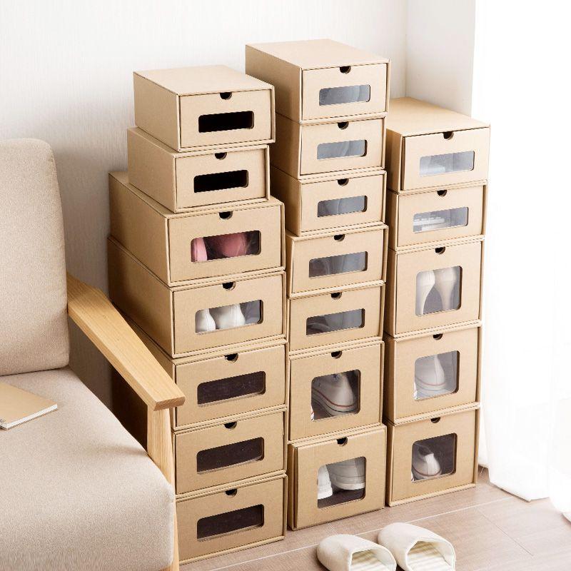 Kraft Paper Shoe Storage Box Transparent Shoe Box Simple Drawer Boot Box  Finishing Boxex