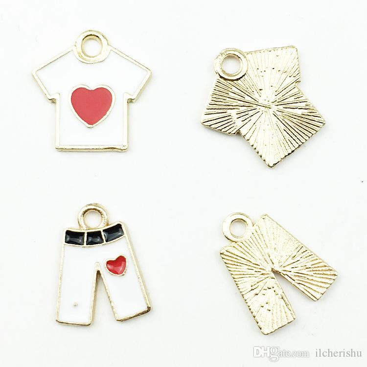 Mix Lovely short sleeved T-shirt clothes pants charms, enamel hair ornaments pendant necklace bracelet jewelry accessories DIY mixed