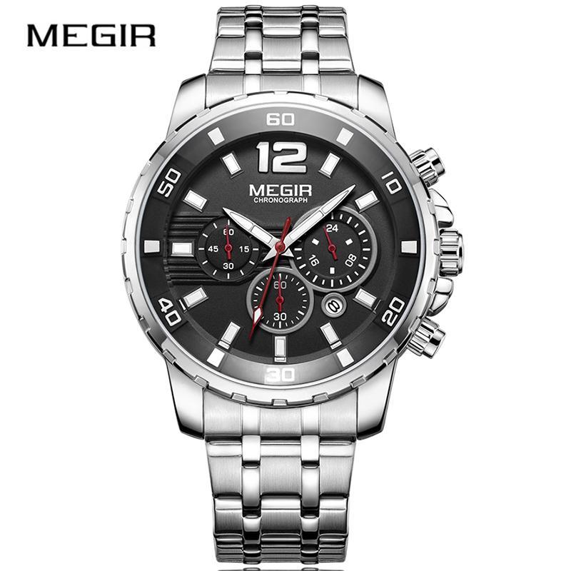 f93df9d4add3 Compre Reloj De Pulsera Analógico De Acero Megir 2068 Para Hombre ...