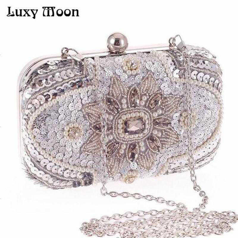 New 2017 Glitter Women Beaded Clutch Silver Evening Bags With Chains  Handbag Wedding Dress Bag Party Purse Banquet Package W611 Purses For Women  Designer ... fec02ff867e5