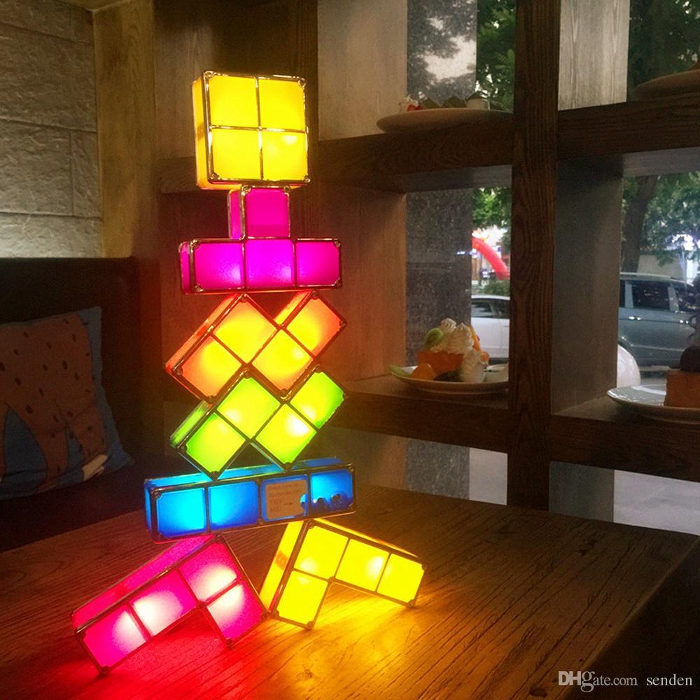 DIY TACTBIT Tetris Puzzle Lumière Empilable LED Lampe De Bureau Constructible blocs de construction Nuit Lumière Rétro Tour De Jeu Bébé Coloré Brique Cadeaux