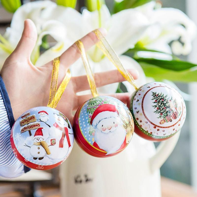 Christmas Candy Box Santa Claus Snowball Pattern Tin Box Candy Gifts Box Christmas Decoration for Home Party Supply Y18102909