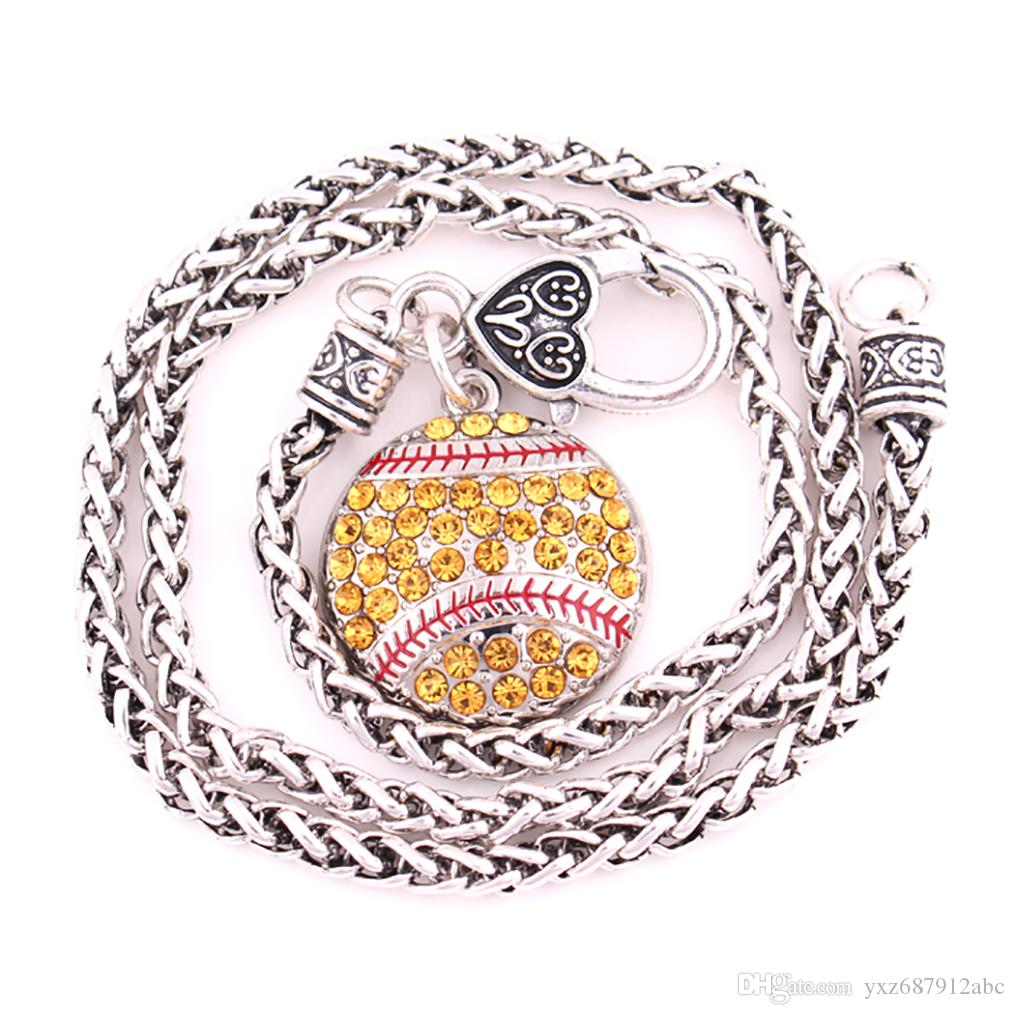 Drop Shipping Lobster Claw Wheat Chain with Large Clasp Crystal Round Baseball And Softball Sports Necklace