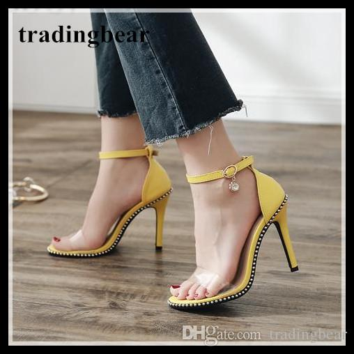 212592841773 Yellow Beading Border Ankle Strappy High Heels Shoes Summer Sandals Beige Black  Size 35 To 40 Womens Sandals Orthopedic Shoes From Tradingbear