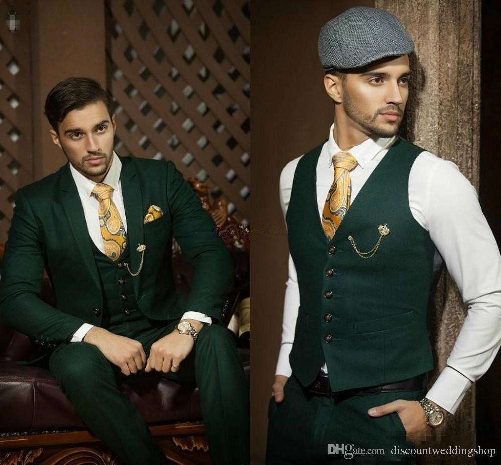 Üst Tasarım Damat Smokin Bir Düğme Koyu Yeşil Notch Yaka Groomsmen Best Man Suit Düğün Erkek Takım Elbise Ceket + Pantolon + Yelek + Kravat J380