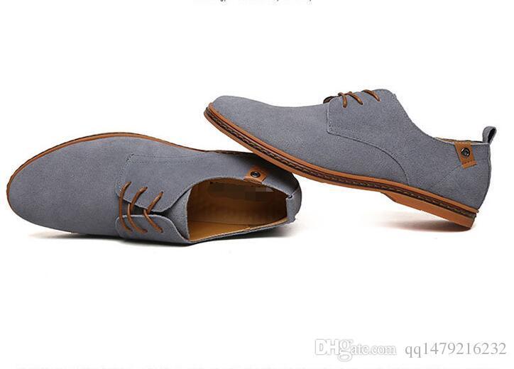 Erkekler Rahat Ayakkabılar Süet Leathern nefes Flats Lace Up Oxfords Ayakkabı Yeni Düşük Sosyal Chaussure Homme büyük Boy 39-47 a19