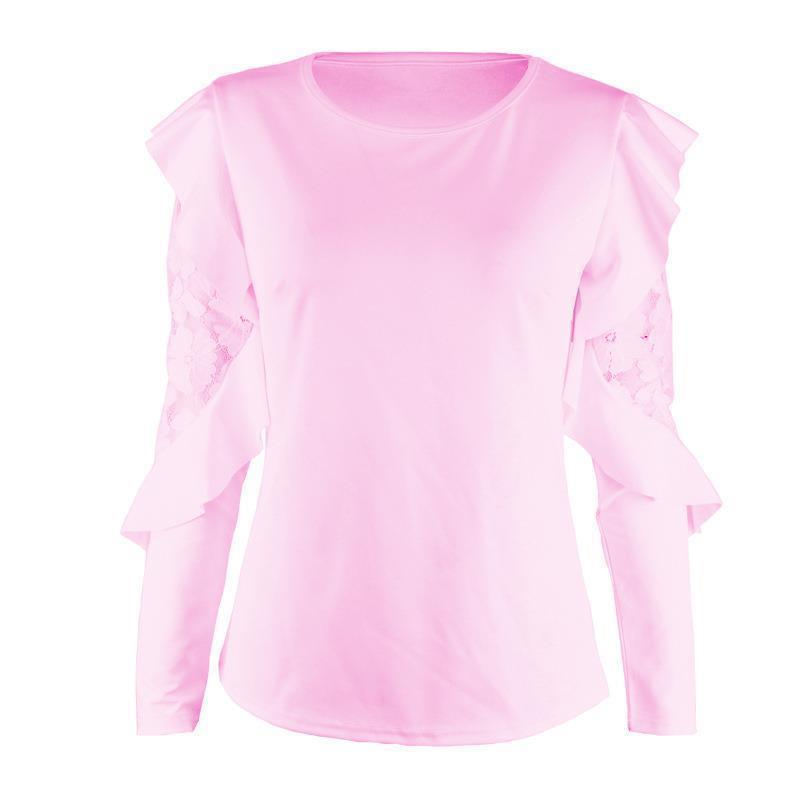 Blusa de Patchwork de encaje Elegante Work Ruffle Blusas Mujer Mujer de manga larga Tops Casual Ladies camisa WS5317X