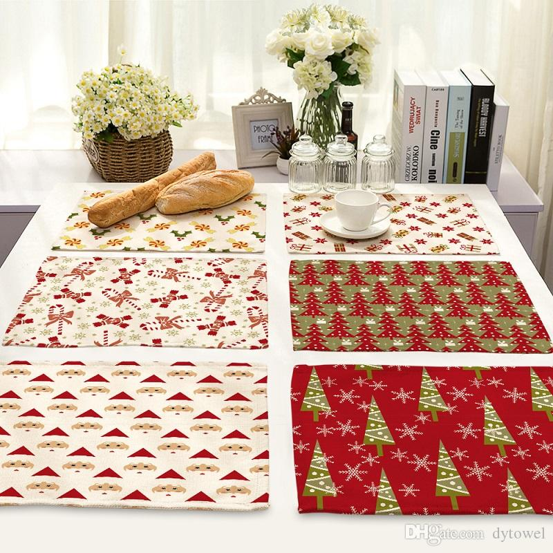 Christmas Santa Claus Table Placemats Mat Table cloth pad felt celebrations Xmas Party Dinner Decor rustic style Decoration festive supplies