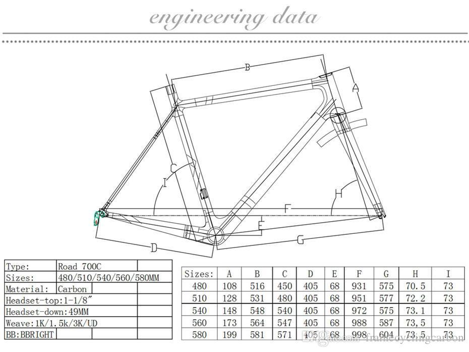 2018 VENTA CALIENTE marco de bicicleta de carretera de carbono T800 marco de bicicleta de fibra de carbono completo tamaño 48/51/54/56/58 incluye marco + horquilla + auriculares + tija de sillín + abrazadera