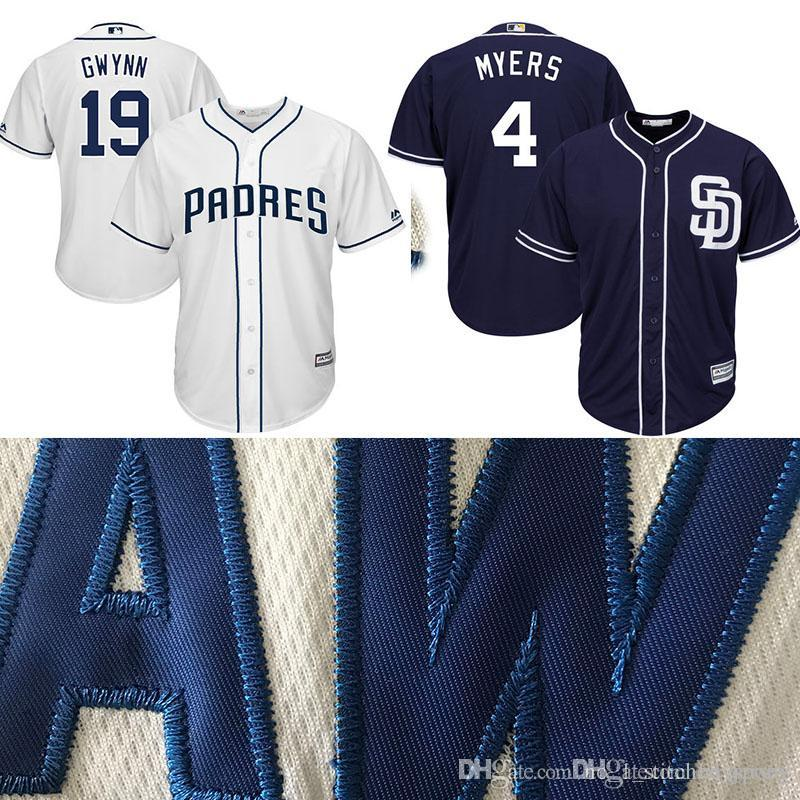 5e703e83f38 ... get 2018 san diego padres 4 wil meyers 19 tony gwynn baseball jerseys  majestic navy alternate ...