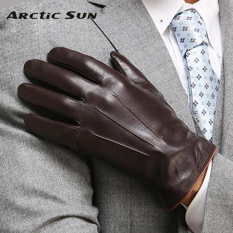 Top Quality Genuine Leather Gloves For Men Thermal Winter Touch Screen Sheepskin Glove Fashion Slim Wrist Driving EM011 C18111501