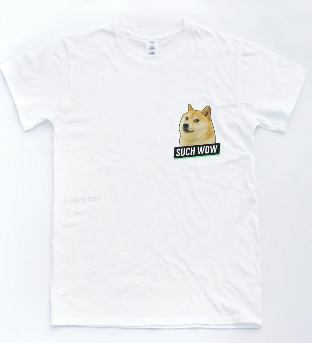 Create Custom T Shirts Comfort Soft Such Wow Doge Pocket Crew Neck