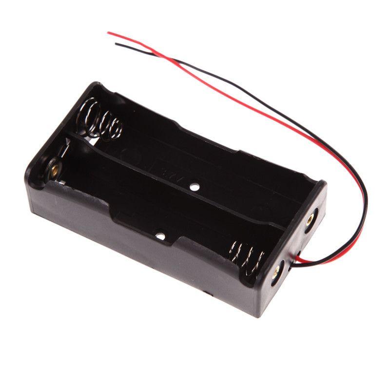 Banque d'alimentation pour porte-batterie 2x18650 Boîte de rangement en plastique Boîtier noir avec fil de fil
