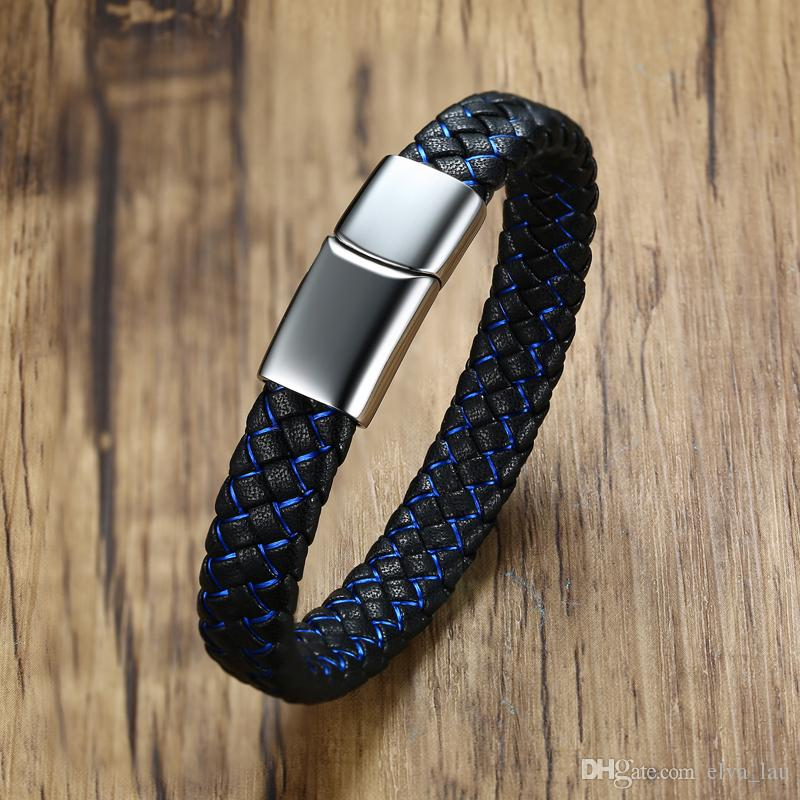 Wholesale Black and Blue Genuine Leather Mens Bracelets Bangle Euro-US Style Stainless Steel Male Jewelry 8.26''