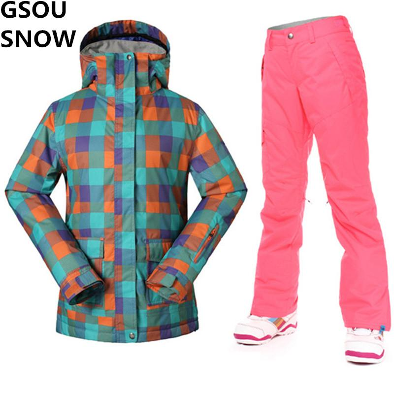 GSOU SNOW Ski Jacket + Pants Women Winter Super Warm Ski Suit Female Skiing Snowboarding  Suits Waterproof Ladies Snow Suits Set UK 2019 From Curtainy c99e0a9266