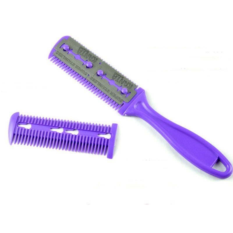 2 * pinceles de maquillaje cepillo de pelo Pro Hair Razor Comb Scissor peluquería recortadoras de afeitar del pelo cuchillas de corte adelgazamiento herramienta de peinado