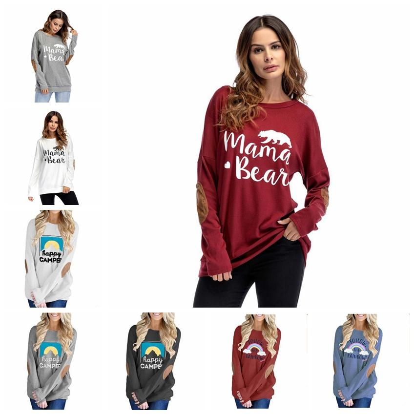 e001b41a9e4c0 Women Patch T Shirts Pullover Christmas Style Mama Bear Long Sleeves Tops  Dolman Sleeve Autumn Happy Campee Letter Rainbow Hoodies MMA859 12 Funky Tee  ...