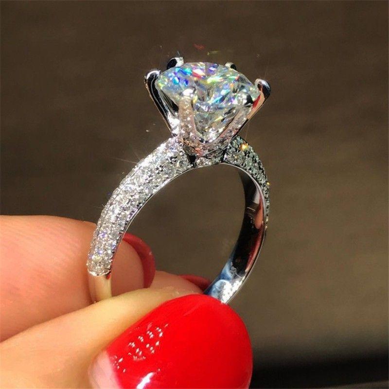 Espumoso Victoria Brand Desgin joyería de lujo Pure 100% 925 Sterling Silver forma redonda Topaz blanco CZ Diamond mujeres Wedding Pave banda anillo