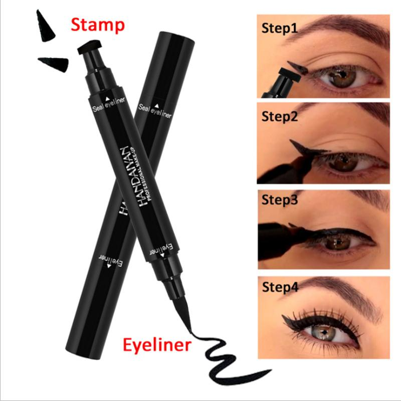 HANDAIYAN Brand Black Double-headed Eyeliner Pencil With Miss Stamp Seal Maquiagem Waterproof Liquid wing Eye Liner Cosmetics