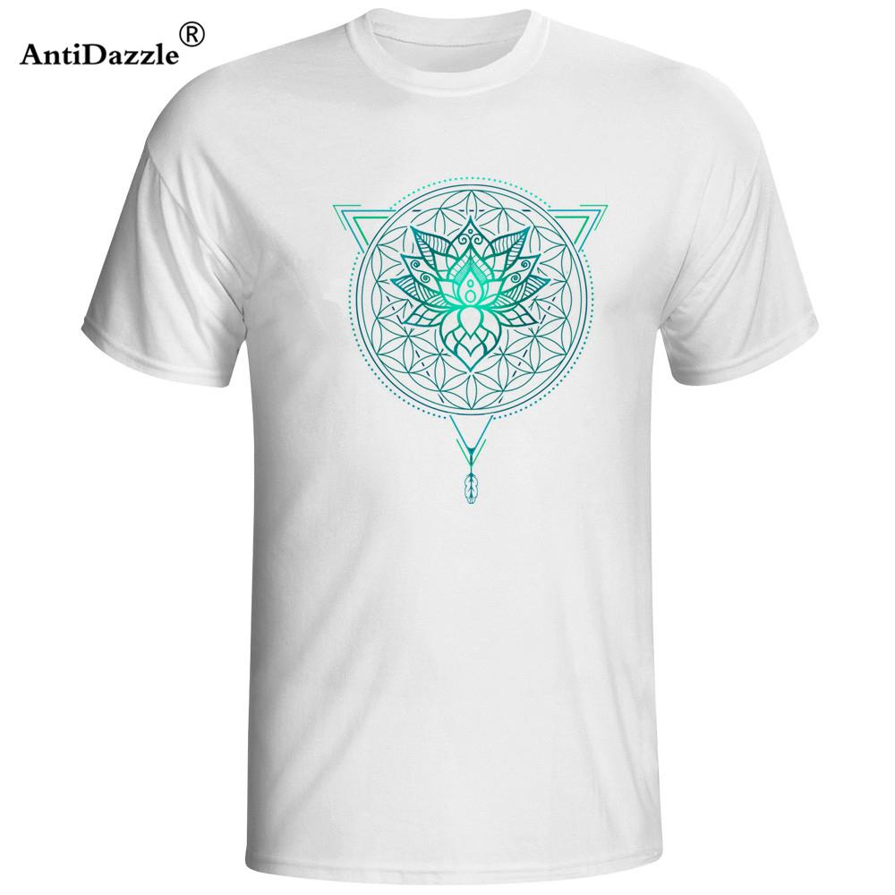 Lotus Flower Of Life Mandala In Geometric Triangle Summer T Shirts