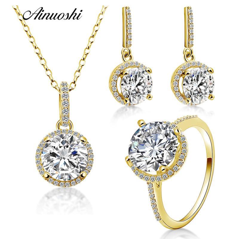 Купить Оптом <b>AINUOSHI 10K Solid Yellow</b> Gold Jewelry Set Highly ...