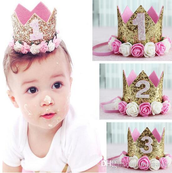 0c70c1e74d2 Baby Princess Tiara Crown Baby Girls Kids First Birthday Hat Sparkle Gold  Flower Style With Artificial Rose Flower Hair Accessories For Flower Girl  Silver ...