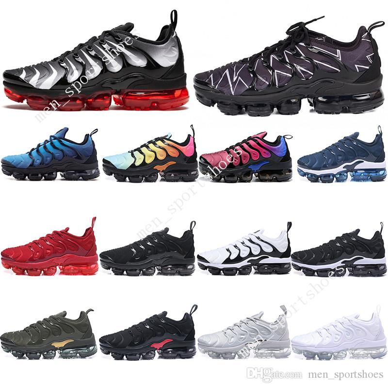 on sale 8fa9d 18096 2019 2019 TN Plus Mens Designer Shoes VM Olive Metallic White Silver  Colorways Women Men Shoes For Running Male Pack Triple Black Mens Shoe From  ...