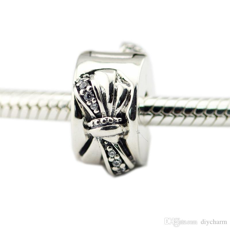 Misure Pandora Bracciale lucido Clip Arco fascino CZ libera perle originali argento 925 gioielli fai da 2018 giorni della madre