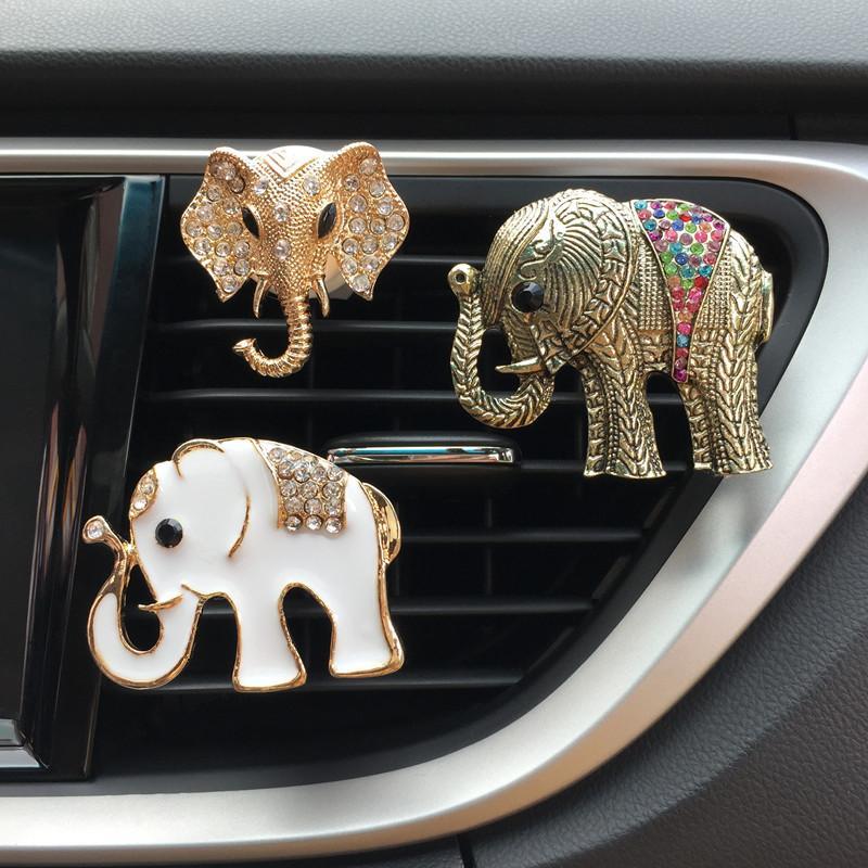Air Freshener Interior Accessories Auto Decor Animal Decorated Automobile Accessories Gift Car Ornament Car Vent Clip Air Freshener Cute Gift Diamond Elephant