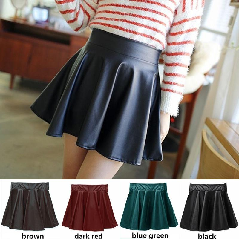 e73c91b600f2a PU Leather Women Stretch High Waist Skirts Flared Pleated Mini Skirt Solid  Faux Leather Short Skirt UK 2019 From Houmian
