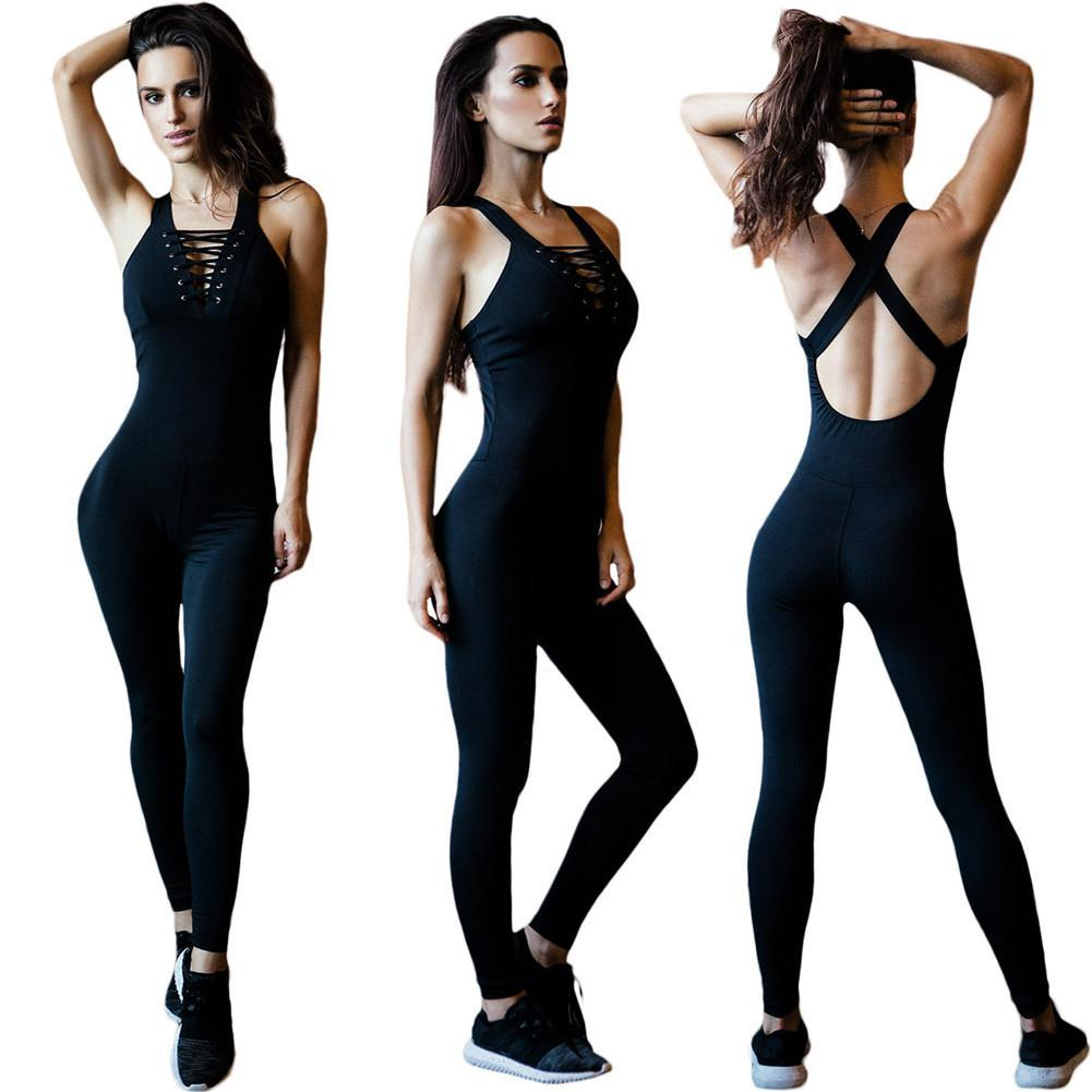 270f4ad4f193 Sexy mujeres sin mangas correas Leotardo Gym Yoga mono mono polainas  pantalones traje de una sola pieza hembra