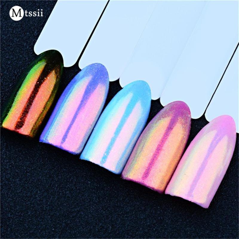 Mtssii 02g Unicorn Chrome Powder Shinny Nail Art Pigment Mermaid Metallic Effect Mirror Fairy Glitter Gel Acrylic Nails