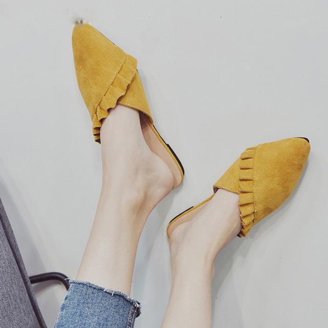 3c39632c5b Women Shoes Suede Pointed Toe Slipper Mules Half Flat Slipper Ruffles  Casual Shoes Women Flats Summer Sandals Pink Slide