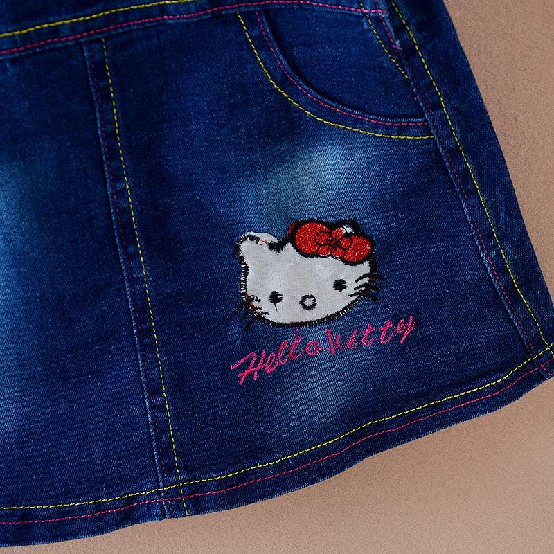 Girls Dress Denim Lovely Hello Kitty Embroidery 2017 Summer Dress Overalls Kids Dresses for Girls Jean Sundress Kids Clothes Z07