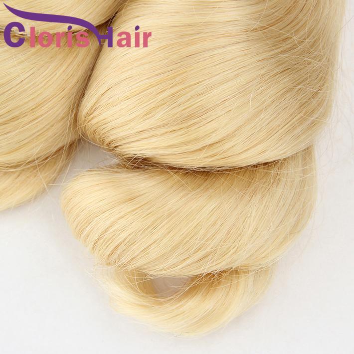 Platinum blonde lockige Haarverlängerungen 3 Bundles Günstige Mink Brazilian Virgin lösen Welle Blond Weaves 613 Extensiones de Cabello