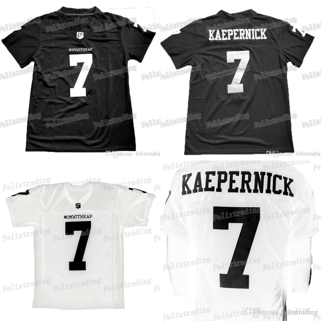 e5310cbde 2019 White Black For 7 IMWITHKAP JERSEY COLIN KAEPERNICK I M WITH KAP  FOOTBALL JERSEY Black Men Women Youth Stiched Name   Number   Logos From  Felixtrading