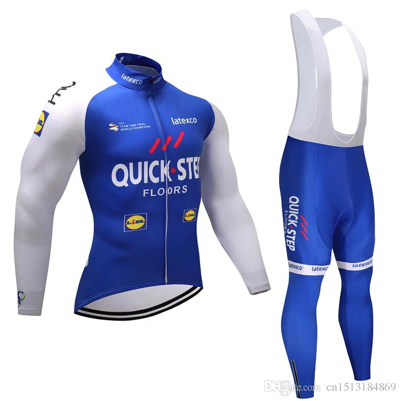 UCI 2018 Pro Team Quick STEP Winter Thermal Fleece Cycling Jersey Kit Ropa  Ciclismo Invierno Bicycle Clothing Bike Jersey Bib Pants Set Biking Jerseys  Road ... 229247f3d