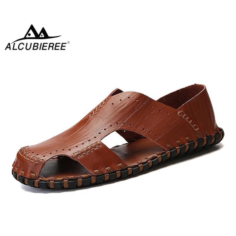 Été Plein Alcubieree À Chaussures Plage Cuir Hommes Bout En De Casual Diapositives Fermés Pantoufles Sandales Véritable Air ukXZiP