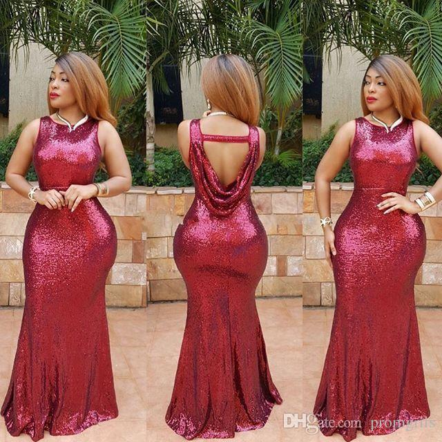 Plus Size Arabic Sexy Prom Dresses Burgundy Sequins Dress Backless