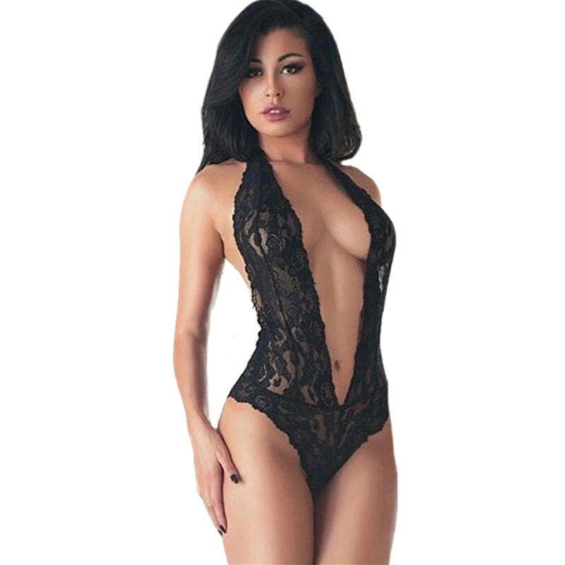47881d9c4d16 Compre Babydoll Sexy Teddy Lencería Halter Negro De Encaje De La Ropa  Interior De La Mujer Sin Respaldo Lencería Erótica Señora Tentación Íntima  Sexy ...