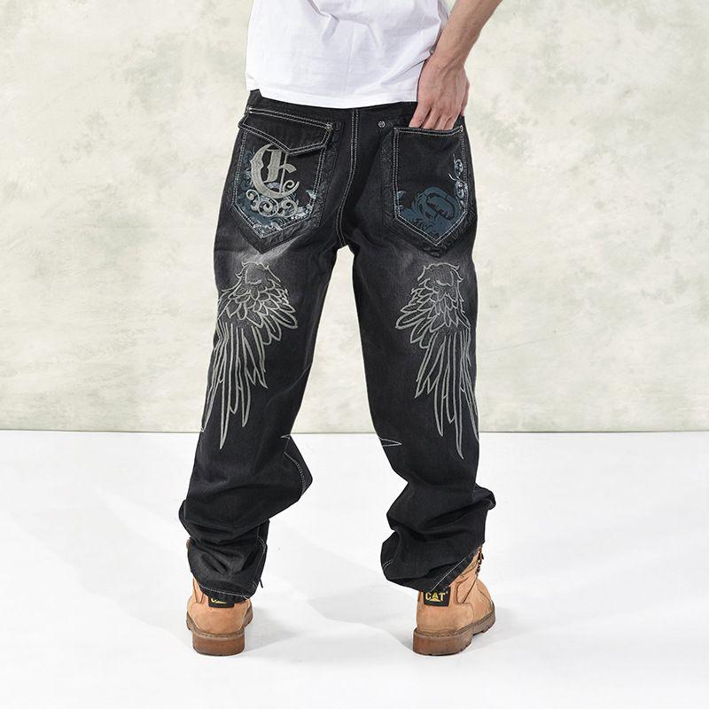 2019 Mens Baggy Jeans Men Wide Leg Denim Pants Hip Hop ...