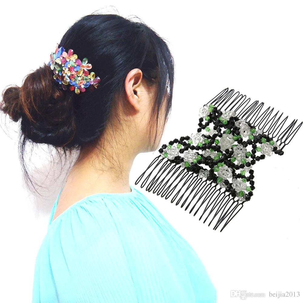 Vintage Flower Bead Capelli elastici pettini Double Magic Slide metallo pettine Clip Forcine le donne Accessori capelli regalo