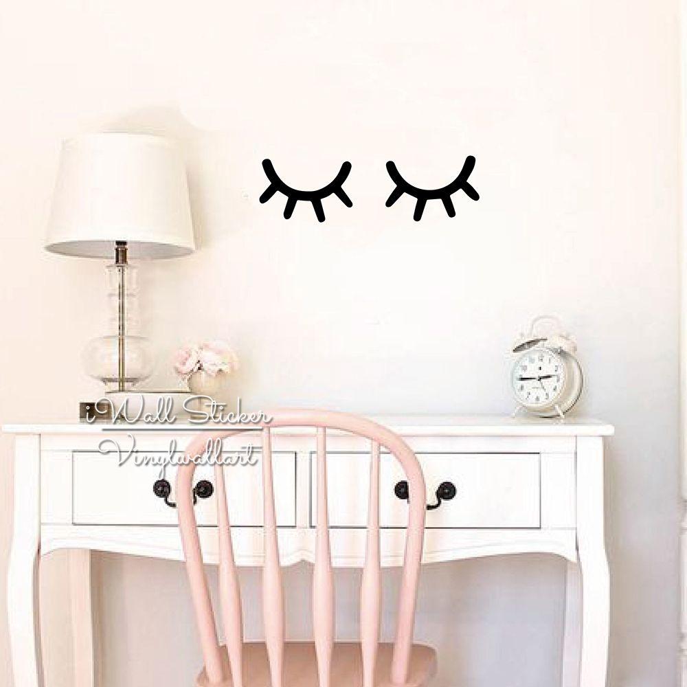 Baby Nursery Eyelash Wall Sticker Girls Room Eye Wall Decal Children Room Removable Kids Wall Decor DIY High Quality Cut Vinyl N49