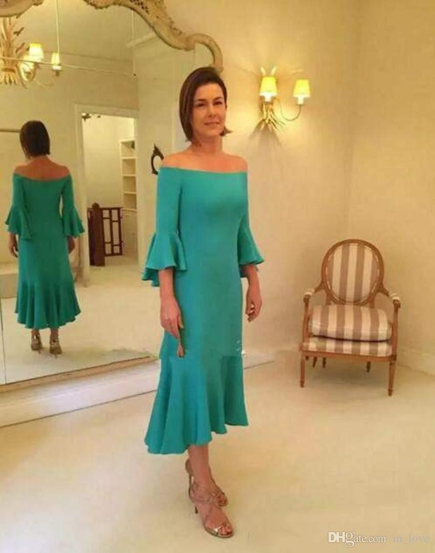 befc17734cf Tea Length Mother Of The Bride Dress Off Shoulder Bell 3 4 Sleeves Short  Trumpet Mother Of The Groom Outfits Formal Party Dress Unusual Mother Of  The Bride ...