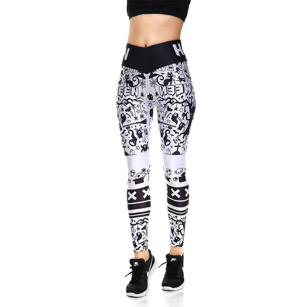 8e9f08dcc7754 Womens Skull Printed High Waist Fitness Slim Leggings For Female ...